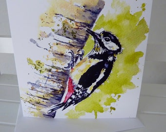NEW! Larger Card  - Great Spotted Woodpecker - Greetings Card -