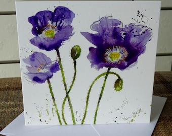 Purple Poppies, a beautiful greetings card from a watercolour by Pauline Merritt
