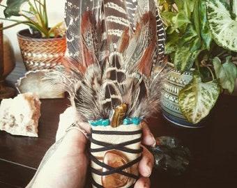Large Smudge Feather with Sun Aura Quartz