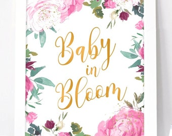 Baby In Bloom Sign Etsy