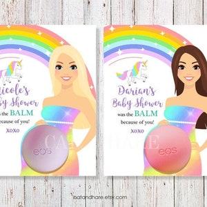 Baby Shower Favors Girl Boy EOS Lip Balm Multi Colored Polka Dots Baby Shower Favor Baby Shower Fabor Card Holder Gift Tags PRINTABLE