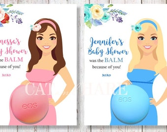 Baby Shower Favors EOS Lip Balm Girl Boy Boho Baby Shower Was The Balm Card Holder Gift Tags Custom Personalized Thank You Favors PRINTABLE