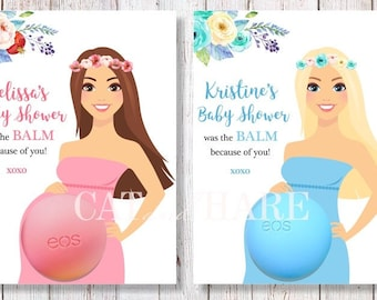 EOS Baby Shower Favors Lip Balm Baby Shower Girl Boy Ideas Boho Theme Flowers Crown Wreath Baby Sprinkle Pink Blue Lavender Mint PRINTABLE