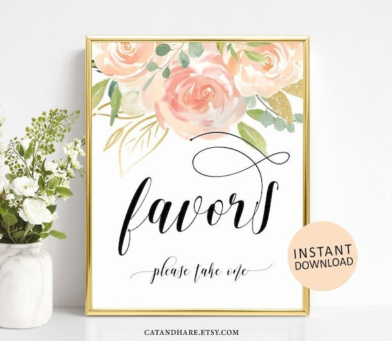 ab62784132ad Favors Sign Bridal Shower Baby Shower Wedding Favors Please Take One From  My Shower To Yours Peach Gold INSTANT DOWNLOAD Printable