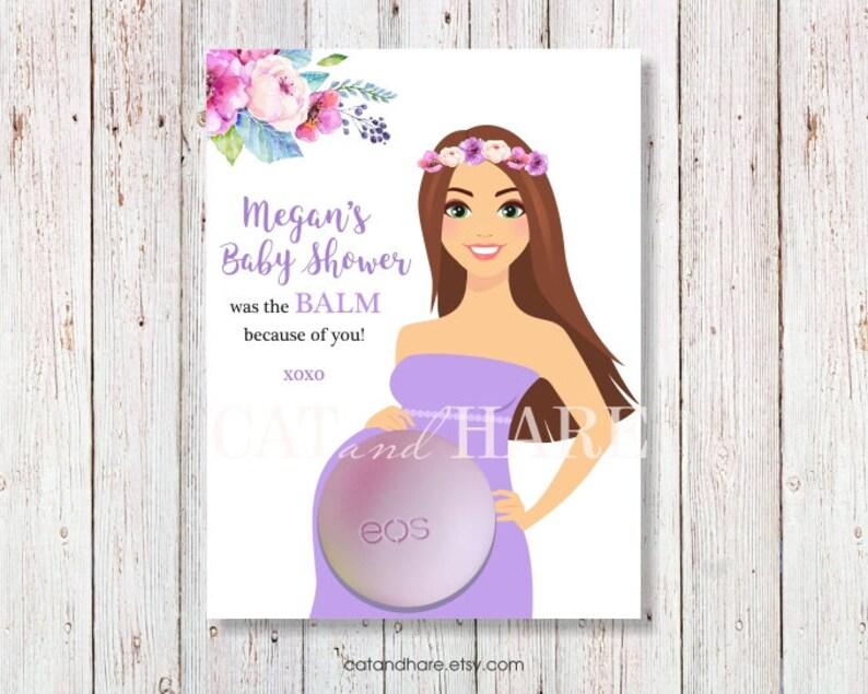 Baby shower favors boy girl eos lip balm babyshower ideas baby sprinkle blue pink floral dress boho pregnant woman mom