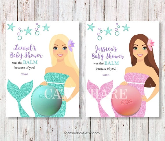 Mermaid Baby Shower Favors Eos Lip Balm Baby Shower Ideas Etsy