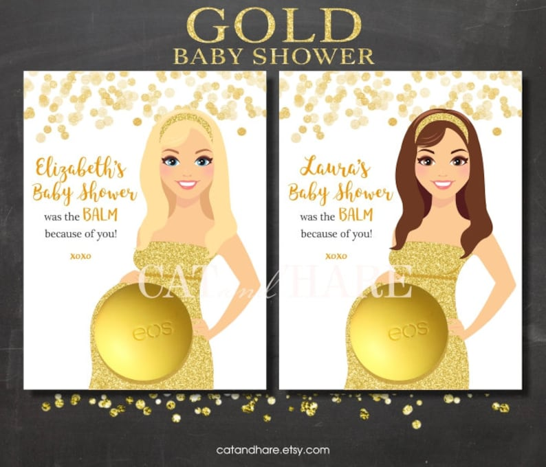Gold Baby Shower Favors Ideas Eos Lip Balm Golden Theme Baby Etsy