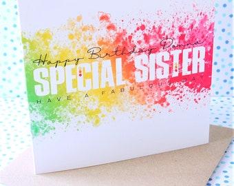 Beautiful Personalised Handmade Special Sister Birthday Card