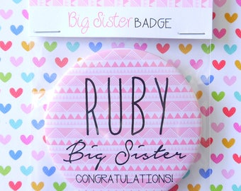 Personalised New Big Brother or Big Sister Badge