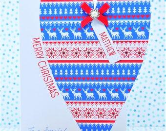 Beautiful LARGE LUXURY Personalised Handmade Christmas Card, Husband, Wife, Boyfriend, Girlfriend