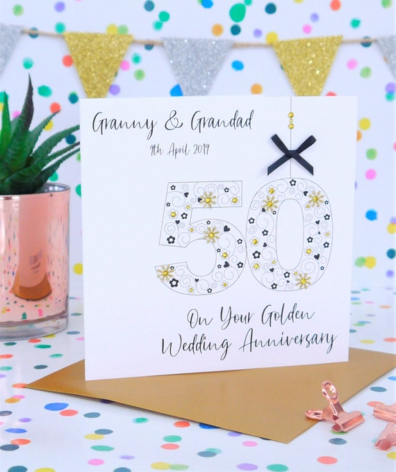 "7/"" x 7/"" BEAUTIFUL HANDMADE GOLDEN WEDDING 50th ANNIVERSARY CARD"