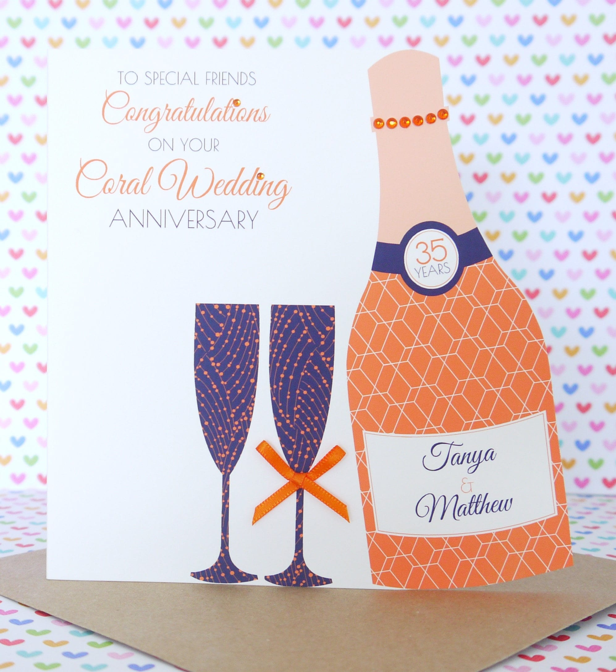Gift Ideas For 35th Wedding Anniversary: Personalised Handmade Coral/35th Wedding Anniversary Card
