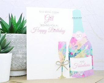 Personalised Handmade Birthday Card 40th,50th,60th,70th Mum,Auntie,Friend