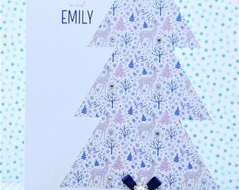 Beautiful LARGE LUXURY Personalised Handmade Christmas Card,Mum & Dad,Grandparents,Friends,Daughter,Son