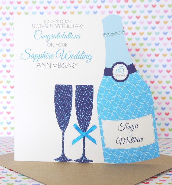 personalised handmade sapphire 45th wedding anniversary card etsy
