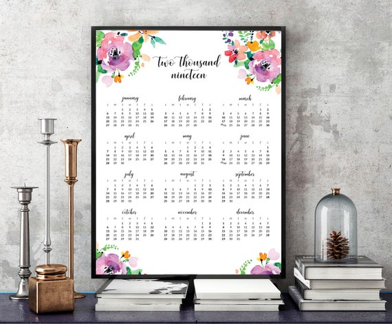 2019 Whimsical Floral Watercolor Calendar Calligraphic Modern | Etsy