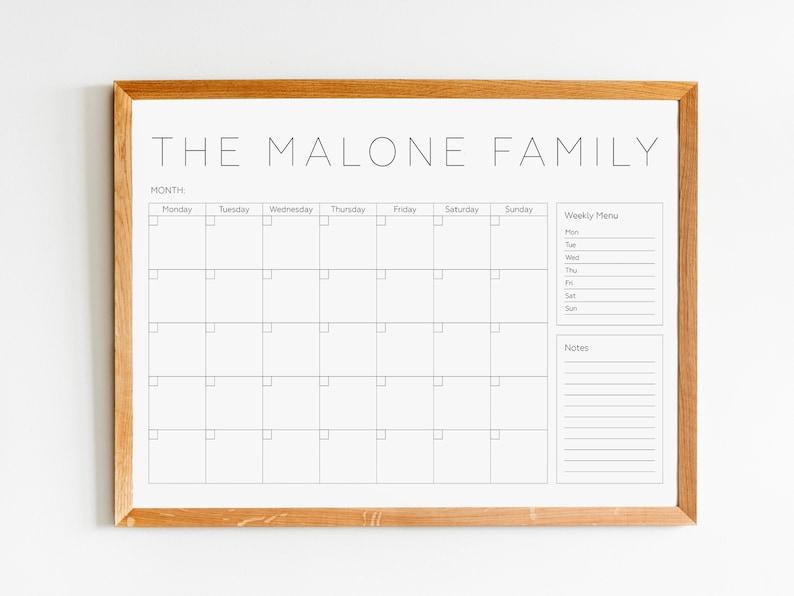 Personalized Family Calendar Dry erase Calendar Perpetual image 1