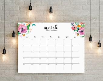 June 2018 - May 2019 Planner Big Wall Calendar Printable instant planner Floral Watercolor Horizontal Decor Desk Frame Letter Sunday Monday