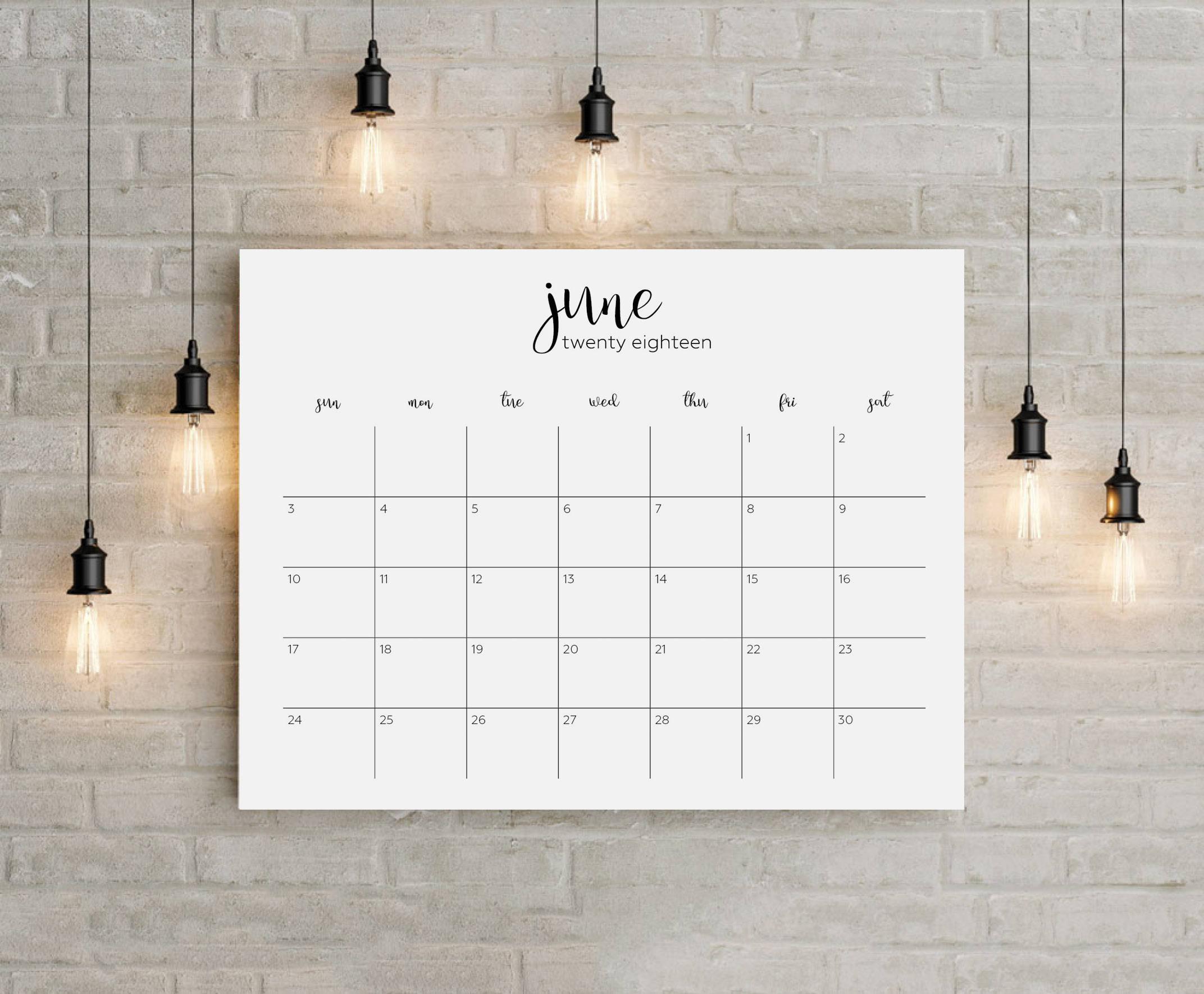 2018 Printable Big Wall Calendar Planner 12 Months instant ...