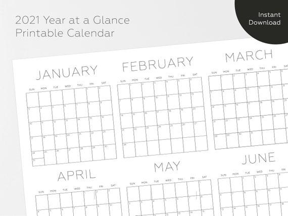 2021 Printable Calendar Year At A Glance Calendar 2021 ...