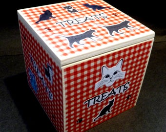 CAT TREATS box -  Rustic Cube box with Flap Lid. Ideal for storing the pouches of cat treats your cat loves.