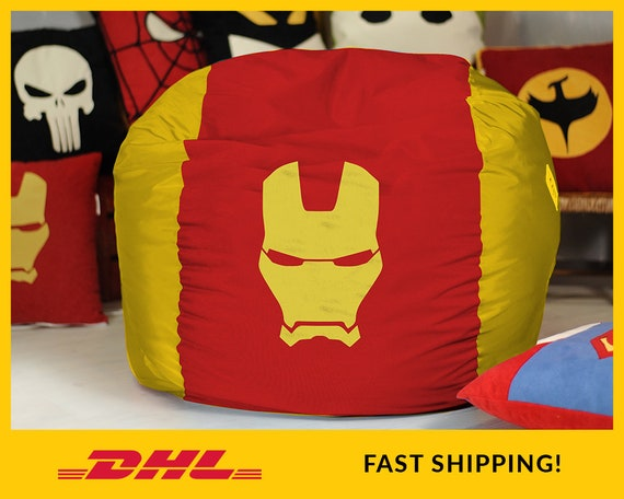 Swell Iron Man Bean Bag Chair Cover Iron Man Pouf Superhero Decor Marvel Comic Chair Avengers Iron Man Pillow Superhero Party Iron Man Logo Gmtry Best Dining Table And Chair Ideas Images Gmtryco