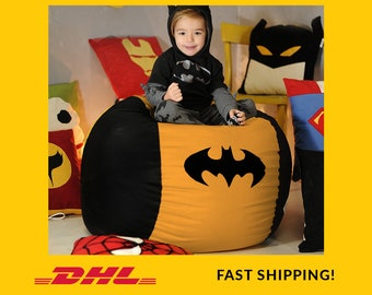 Superhero Kids bean bag chair Cover, Children bean bag, Kids bean bag, Superhero Gift Bag, Superhero Christmas Boy Gift, (COVERS ONLY)