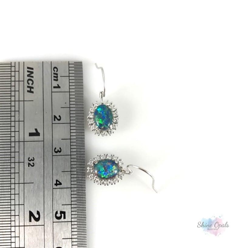 Genuine Australian Opal Drop Earrings 8x6mm Dangle Hook 925 Sterling Silver with CZs Jewelry Gift for her with Certificate Jewellery