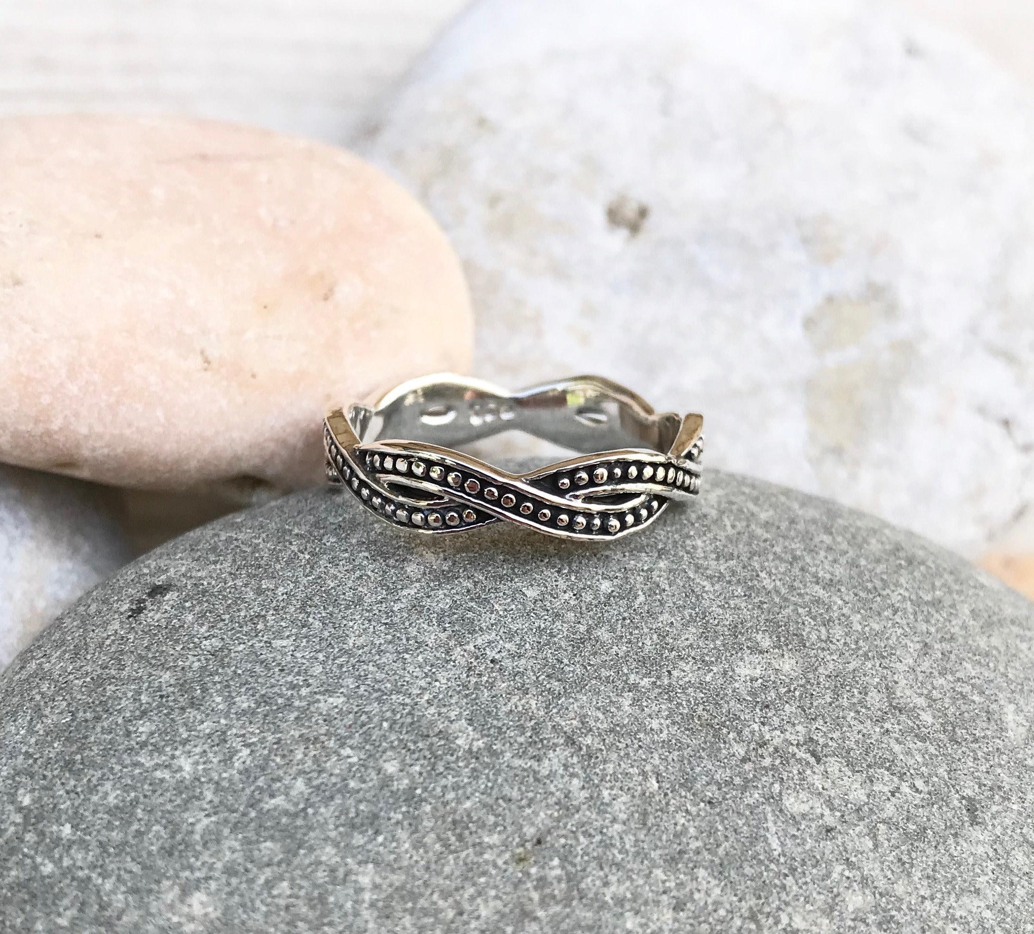 Simple Thick Stacked Pebbles Band RingUS 6-9 Sterling Silver Stack Ball Ring