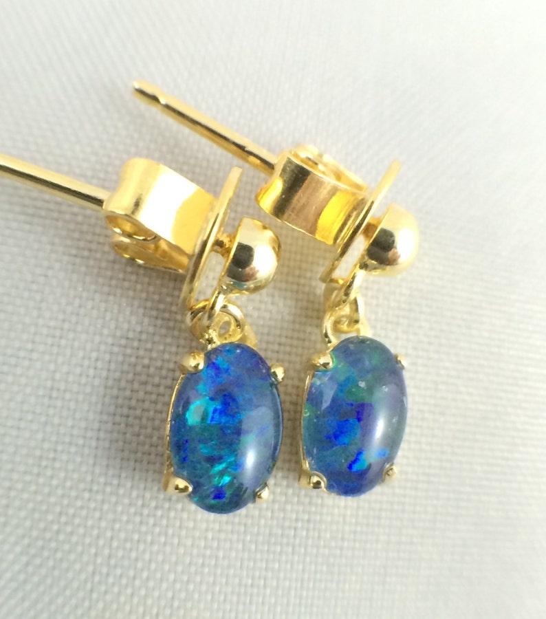 Opal Earrings Jewelry Twice 18ct Gold Plated 925 Sterling Silver with Certificate Genuine Australian Dangle Drop Small Triplet 6x4mm