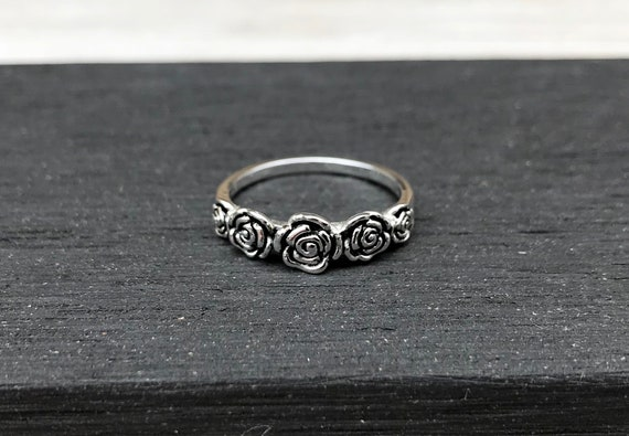 642c1614633bbe Genuine 925 Sterling Silver Floral Rose Ring Fashion Rings | Etsy