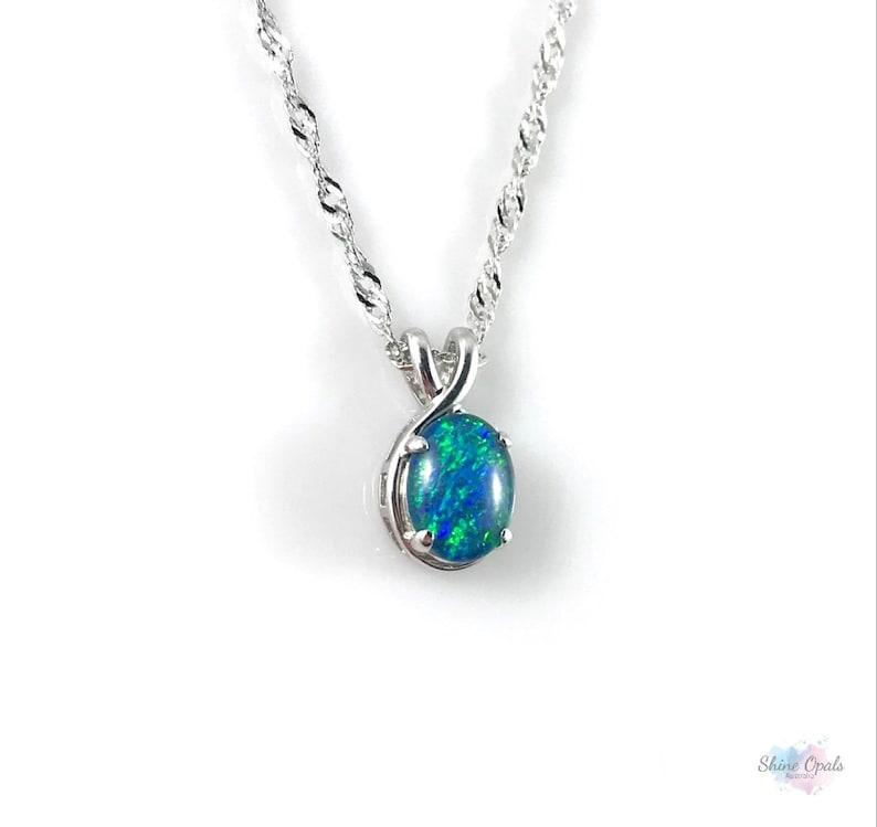 Natural Black Triplet Australia Opal Pendant Solid Silver FREE JEWELLERY BOX!!!