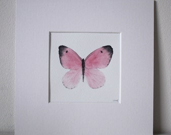 """Butterfly, Original watercolour, pink, 8 X 8"""", painted and mounted by TheWildThingsArt"""