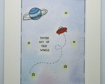"""Fine Art Giclée Print,  You're out of this world, watercolour 8 X 10"""" by TheWildThingsArt"""