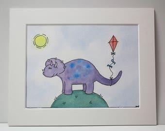 "Dinosaur Nursery art or Childrens wall art, Original watercolour, Dinosaur, 8 X 10"" mounted by TheWildThingsArt"