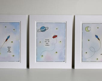 "Fine Art Giclée Prints, Set of 3, Space nursery art 8 X 10"" by TheWildThingsArt"