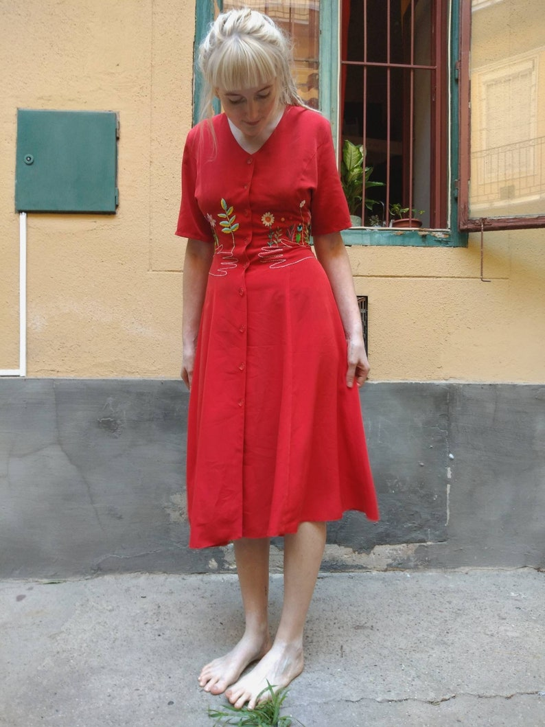Embroidered red dress