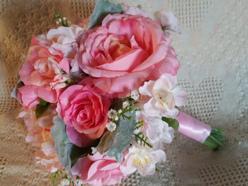 Pink Bouquet Bridal Bouquet Rose Bouquet Ready To Ship Silk Flowers Peonies Roses Discount Pkg Available Other Colors Available
