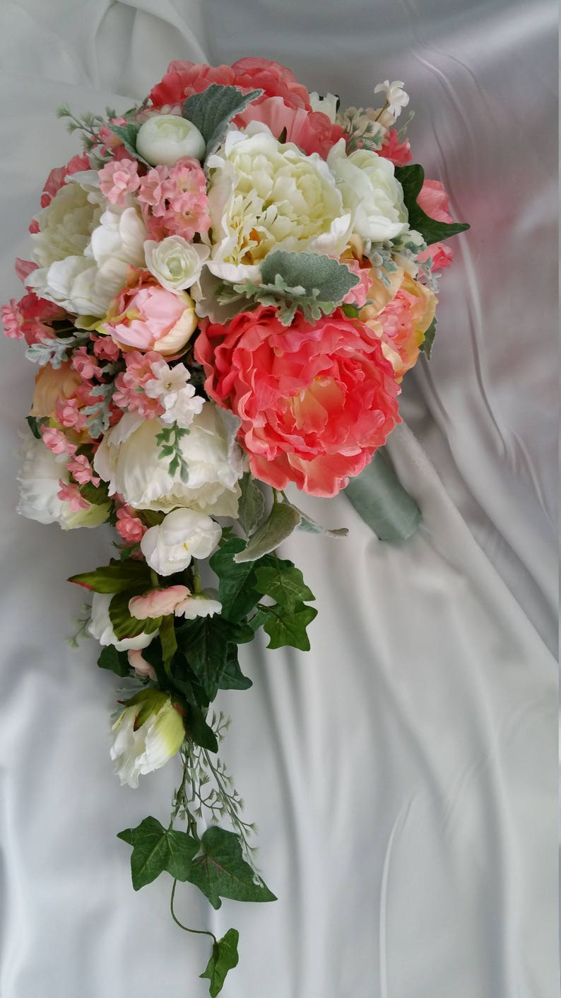 Bridal Cascade Bouquet Coral Peach Peony Disc Pkgs Avail Free Match Boutonniere Free Ship Cream Pick Your Color flowers Peonies Ranunculus