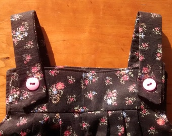 Girl's Black and Pink Flowered  Overalls