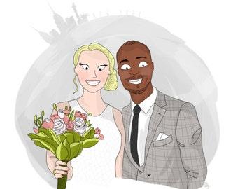 Custom illustrated portrait I Couple bromance, marriage, bestfriend