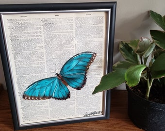 Realistic Hand Drawn Blue Butterfly on Dictionary Page with Colored Pencils Art