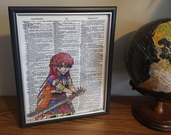 Selesia Upitiria from Re:Creators Handmade Colored Pencil Drawing on Dictionary Page Art