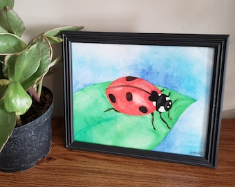 Realistic Red Ladybug Watercolor Painting