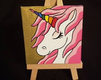 Unicorn with Rainbow Horn Handpainted on Mini Canvas with Easel