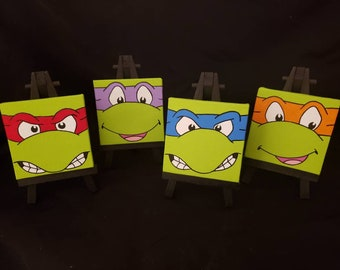 Classic Teenage Mutant Ninja Turtles Handmade Acrylic Paintings on Mini Canvases with Easels
