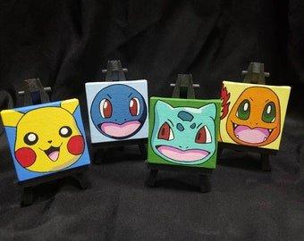 Handpainted Pokemon of Original Characters Including Pikachu Bulbasaur Charmander & Squirtle Mini Canvases with Easels