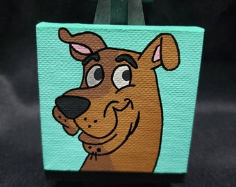 Classic Scooby Doo from Original Cartoon Series Handpainted Acrylic Painting on Mini Canvas with Easel