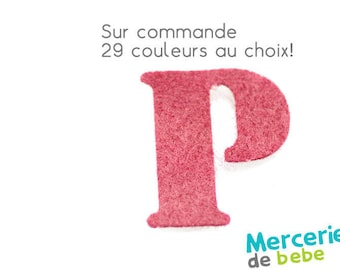 """Letter """"P"""" alphabet in felt - 29 color choices - 2.5 cm x 2.5 cm"""
