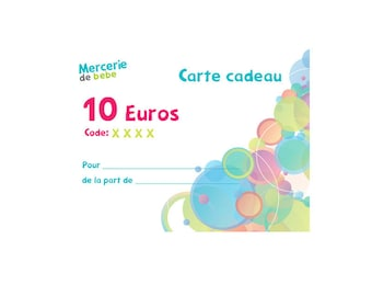 Gift card: € 10 - baby haberdashery